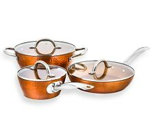 CONCORD 6 PC Hammered Finish Non Stick Copper Cookware Set. Heirloom Collection