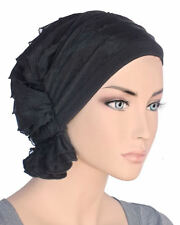 Abbey Cap ® Chemo Hat Cancer Beanie Scarf Ruffle Black