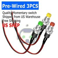 3PCS 12mm 12V 5Amp Mount Push Button Lockless Momentary ON/OFF Wired Switch