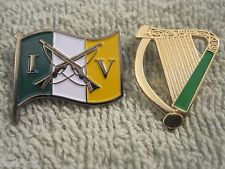 Irish Volunteers 1916 Crossed Rifles & Irish Harp Irish Republican (2) Pin Set