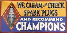 Champion Spark Plugs Vintage Sign Old School Remake Banner Shop Garage Art 2 X 4