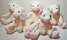 Pink Rose Print Stuffed Teddy Bears Lot American Greetings Tags Mother's Day