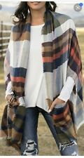 Grace And Lace Pocket Poncho Blanket Scarf Autumn Plaid