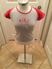 Fitted Medium Grey and Red Nike Baseball style T-shirt