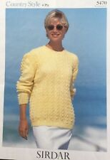 "Sirdar Knitting Pattern 5470  4 Ply Ladies  Lacy Jumper  Sweater Size 30""/44"""