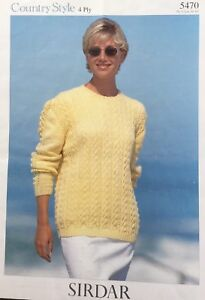 """Sirdar Knitting Pattern 5470  4 Ply Ladies  Lacy Jumper  Sweater Size 30""""/44"""""""