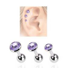 LOT 3 Pack Ear Cartilage Helix Tragus PURPLE CZ Stud Ring Surgical Steel 16G