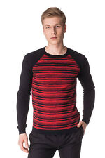 DIESEL Size L Men's K-INDRUMA Striped Colour Block Crew Neck Jumper / Sweater