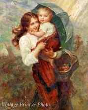 Rainy Days by Frederick Morgan - Art Woman Baby Umbrella Basket 8x10 Print 0815