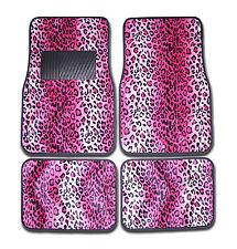 4pc Set Front & Rear Pink Leopard Animal Print Carpet Car and Truck Floor Mats