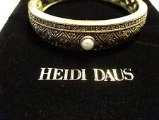 NWT Heidi Daus Oxidised Pavé Coin-Edge Bangle Bracelet Swarovski crystals $57