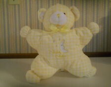 Animal Alley Baby Night Night bear plush Star Moon yellow gingham soft lovey  A4