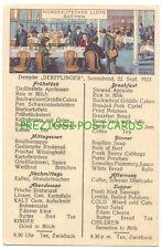 Norddeutscher Lloyd Bremen DERFFLINGER MENU 3rd Class DINING ROOM 1923