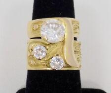 Bridal Set ~ 8 ~ 19 Grams 14k Solid Yellow Gold Cz Engagement Ring/Wedding Band