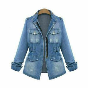 UK8-22 Women's Ladies Denim Oversize Jeans Chain Jackets Pocket Coats Plus Size