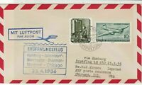 Germany 1956 Maiden Flight Slogan Cancel Airmail Stamps Cover to USA Ref 25867