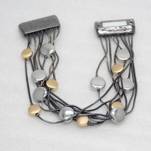Chico's jewelry elegant unique TRI tone bangle black magnitc bracelet for women