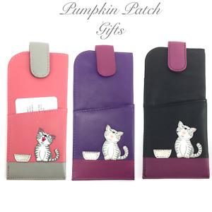 Quality Leather Glasses Case MALA LEATHER Ziggy Cat 5117 99 Pink Purple Black