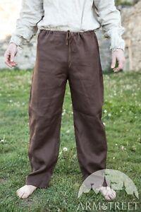Men's Pants; Linen Pants; Classic Medieval Pants; Size XXL, Brown color