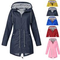 Women Rain Jacket Outdoor Waterproof Hooded Raincoat Windproof Coat S-5XL New SS