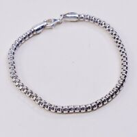 """7.75"""", 3mm, Vtg Italy IBB Sterling Silver Handmade Bracelet, 925 Popcorn Chain"""