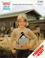 "~ Vintage 1970's Knitting Pattern For Child's Penguin Motif Jumper ~ 24"" ~ 32"" ~"