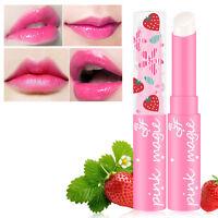2X Erdbeer Lippenbalsam Temperatur Farbwechsel Feuchtigkeitscreme Lippenpfl X6S9
