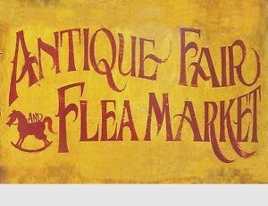 "TIN SIGN ""Antique Fair Flea Market"" Outdoor Signs  Rustic Wall Decor"