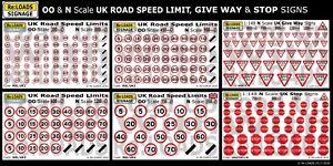 N Gauge N Scale UK Road Speed Limit, Give Way, Stop Signs for Model Railway
