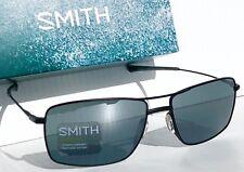 NEW* SMITH OPTICS TURNER Aviator Squared Matte BLACK w Semi Mirror Grey Sunglass