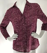 ANN TAYLOR Women's PRINT Button Down COTTON Blouse Career Business Red Size 6