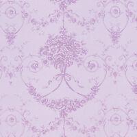 "Cotton 100% Satin weave Fabric Bedding Covering Antique Dandy Damask Purple 44""w"