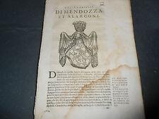 1654 71  C. DE LELLIS FAMIGLIE NOBILI REGNO NAPOLI DI MENDOZZA ALARCONE ARALDICA