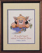 Hog Heaven cerdo cross stitch chart-Un Corazón Alegre hace una cara alegre