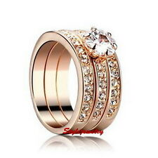 Rose Gold Plated Wedding Engagement 3 Ring Set Made With Swarovski Crystal R183