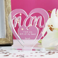 Personalised Heart with Message Ornament Keepsake Birthday Nan Mothers Day Gift