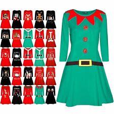 Womens Christmas Elf Santa's Little Helper Belt Costume Xmas Ladies Swing Dress
