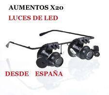 GAFAS CON AUMENTO DE X20 Y LUZ  DE LED EN CADA OJO- PARA TRABAJOS DE PRECISION