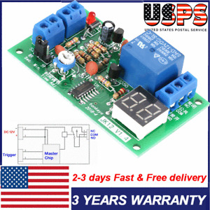 LED Display Countdown Timing Timer Delay Turn-Off Relay Switch Module DC 12V USA