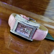New Womens Adee Kaye Micro Pave Crystal Curvex Pink Croc Mother of Pearl Watch