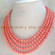 AA Fashion jewelry 4 rows 7-8mm Pink Coral Necklace 16-19 Inch