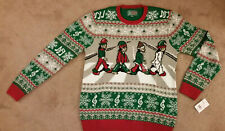 Men's Ugly Christmas Sweater Beatles Abbey Road Elf Sz L Music Notes Elves NEW!!