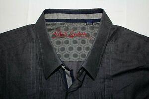 ROBERT GRAHAM 3XL Ruffle Gray Paisley Contrast Cuffs Shirt