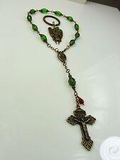 St.Raphael the Archangel Green Crystal Bronze Rosary/Bracelet/Chaplet & Key Ring