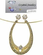 Pendant Earring Set gold plate Swarovski Stone Omega Adjustable Chain NWT