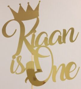 Personalised Prince King Crown Cake Topper Birthday 1st One Add Any Name And Age