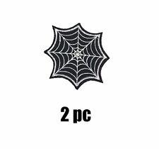2x Spider Web Embroidered Patch Iron On Applique Black Widow Goth Punk Retro
