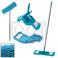 Wet & Dry Absorbant EXTENDABLE Flat CHENILLE FLOOR MOP Cleaning Microfibre Pad