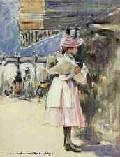 A4 photo menpes Mortimer 1855 1938 PARIS 1909 Neuilly marché aux fleurs imprimé Poster