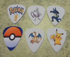 One set of 6 Pokemon Single Sided Picture Guitar Picks